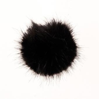 Kunstfell Bommel Schwarz, 10 cm Pompon 100 Polyacryl ,