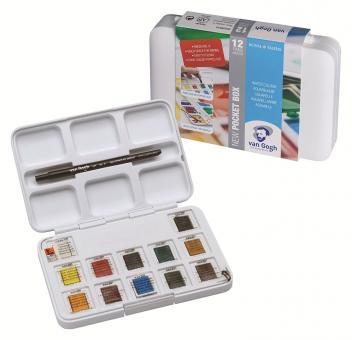 Pocket Aquarell-Box, 12 Farben + Pinsel