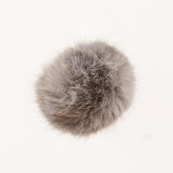 Kunstfell Bommel Pompon, Silber 67%Polyacryl, 33% Polyester , 13cm