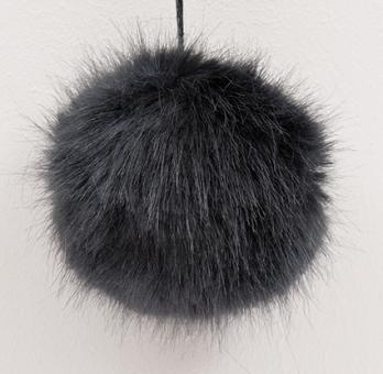 Kunstfell Bommel Pompon, Schwarz 67%Polyacryl, 33% Polyester , 13cm