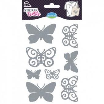3D Textil Sticker, Schmetterlinge silber
