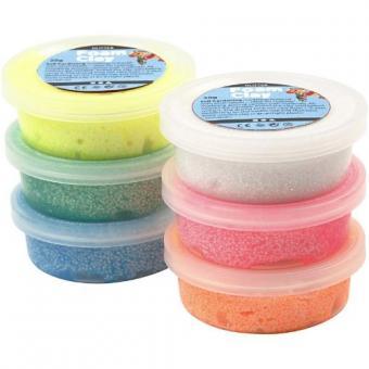Foam Clay Sortiment Glitter 6 Dosen a 14g  mit Werkzeug