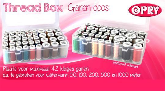 Nähfaden-Box für 42 Spulen 50, 100, 200, 500 und 1000m