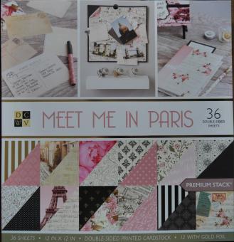 Scrapbook-Block Meet me in Paris Paper Stack, 30,5x30,5cm, 48 Blatt