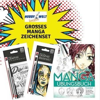 Großes Mangaset mit 2 Pack Stiften Übungsbuch