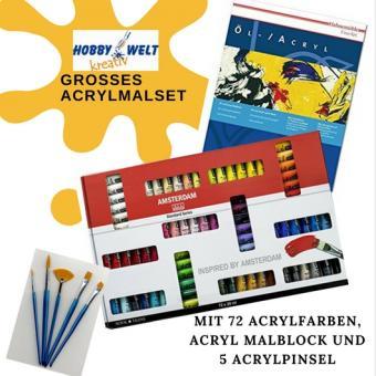Riesen Acrylmal Set mit 72 Farben, Acrylblock und Pinsel