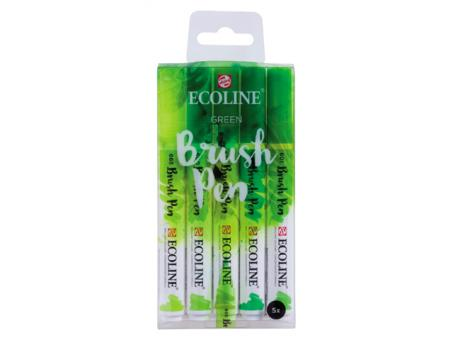 Ecoline Brush Pen Set, Grün Wasserfarbe, 5 Stifte