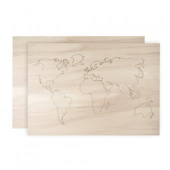 Holz-Weltkarte, Braun, 30 x 21 x 1cm 4-Einheiten , 2 Platten