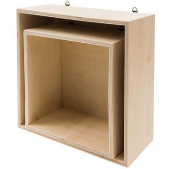Holzbox Set Quadratisch, 2-teilig