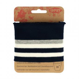 Opry Bündchen elastisch 6,5cm 1,1m, blau-weiß-silber