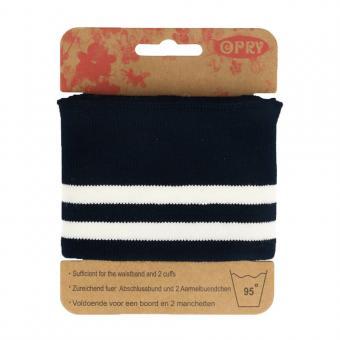 Opry Bündchen elastisch 6,5cm 1,1m, blau-weiß