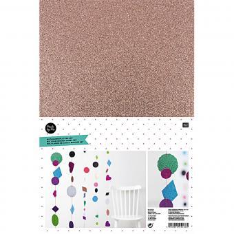 Moosgummiplatten Glitter Farbmix 20x30cm, 2mm stark, 10 Stück