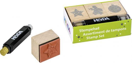 Stempelset Weihnacht 3 Stempel plus Kissen gold und silber