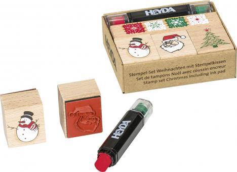 Stempelset Weihnacht 4Stempel plus Kissen Rot und Grün