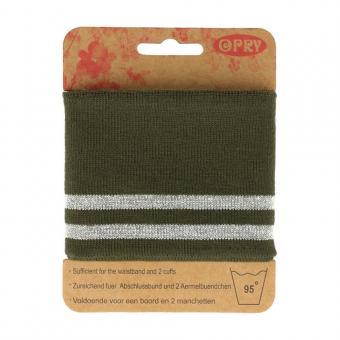 Opry Bündchen elastisch 6,5cm 1,1m, oliv-silber