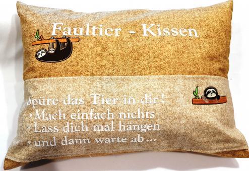 Faultierkissen Caramel/Cream Nähset mit Plottschrift u. Anleitung