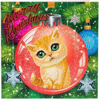 Crystal Art Kit Karte Kitten Bauble 18x18 cm