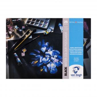 Aquarellpostkarte schwarz,25 Blätter 10,5x14,8cm, 360g/m²