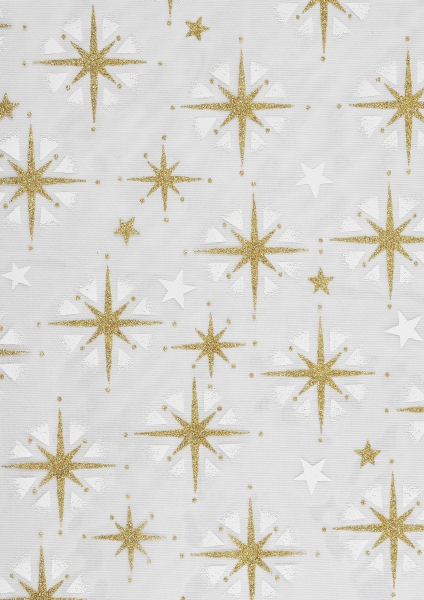hobbywelt kreativshop creapop deko stoff 29 cm organza sterne gold wei basteln und n hen. Black Bedroom Furniture Sets. Home Design Ideas
